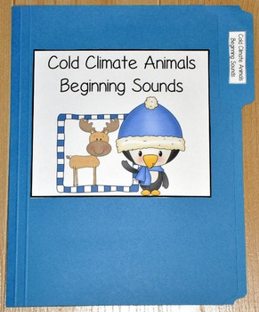 """Winter File Folder Game--""""Cold Climate Animals Beginning Sounds"""""""