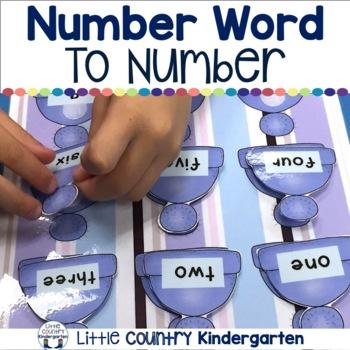 Number Word Match: Winter File Folder Game