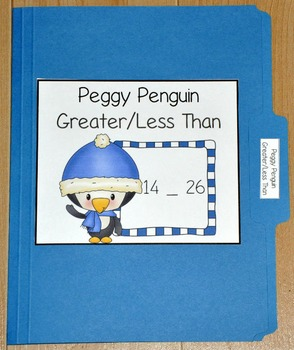 "Winter File Folder Game--""Peggy Penguin Greater Than/Less Than"""