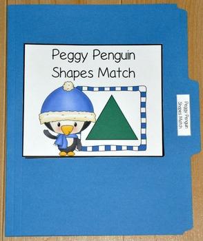 "Winter File Folder Game--""Peggy Penguin Shapes Match"""
