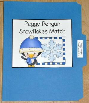 "Winter File Folder Game--""Peggy Penguin Snowflakes Match"""