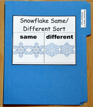 """Winter File Folder Game--""""Snowflakes Same and Different Sort"""""""