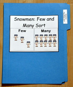 "Winter File Folder Game--""Snowmen Few and Many Sort"""
