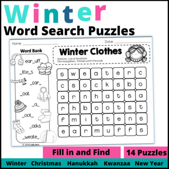 Winter Fill-In & Find Wordsearch PACKET (Christmas, Kwanza