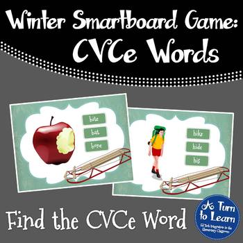 Winter Find the CVCe/Super E Word Game for Smartboard or P