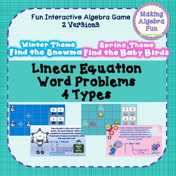 Algebra Game Linear Equations WORD PROBLEMS 4 Types Winter & Spring Versions