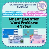 Algebra Game Equations in slope intercept and standard form WORD PROBLEMS