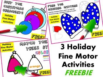 Winter Fine Motor Skills Practice {Christmas Themed Centers - FREEBIE}