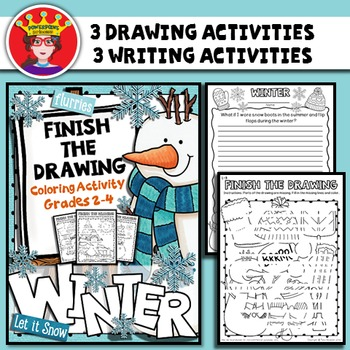 Winter Finish The Drawing Coloring and Writing Activity