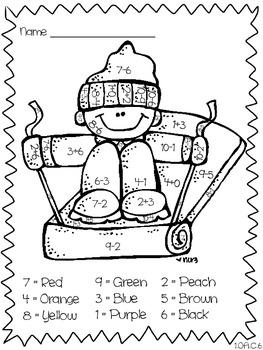 Winter First Grade Math Coloring - 1.OA.C.6, K.OA.A.5, 2.OA.B.
