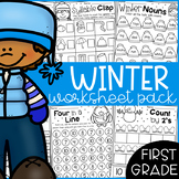 Winter Math and Literacy Worksheet Pack - First Grade