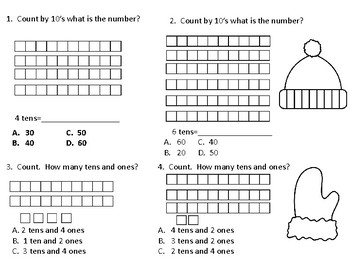 Winter First Grade Place Value Concepts