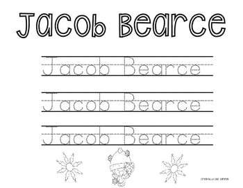 Winter First and Last Name Tracing: Personalized for Class