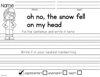Fix the Sentences-Winter Season