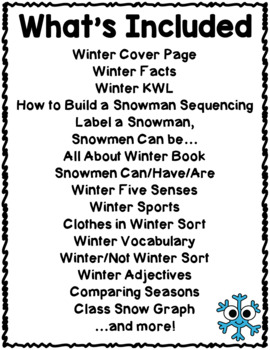 Winter Activities Interactive Notebook Lapbook