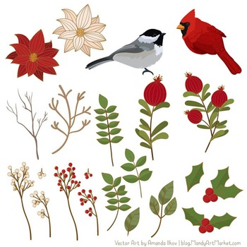 Winter Flowers & Songbirds Clipart