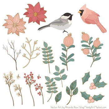 Winter Flowers & Songbirds Clipart - Winter Clipart, Christmas Clipart