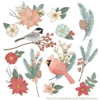 Winter Flowers & Songbirds Clipart - Winter Clipart, Christmas Clipart