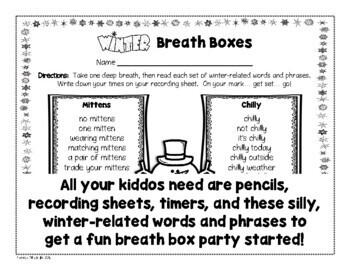 Winter Breath Box Fluency Practice