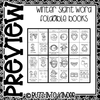 Winter Foldable Books for Kindergarten (Emergent Readers)