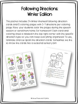 Winter Following Directions Cards & Coloring Sheets