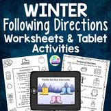 Winter Themed Following Directions Worksheets and No-Print Tablet Activities