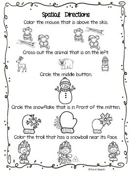 Winter Following Direction Worksheets - Organized by Concept - Print & Go!