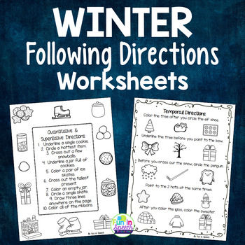 Winter Following Direction Worksheets - Organized by Conce