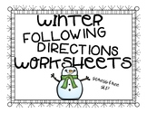 Winter Following 3-Step Directions Worksheets