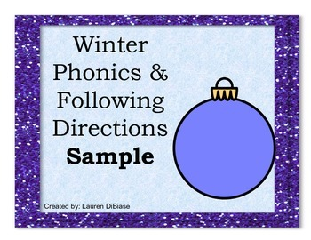 Winter Phonics and Following Directions Sample!