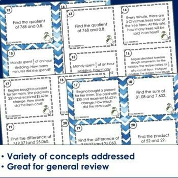Mixed Math Practice Task Cards - Winter Footloose Math Game