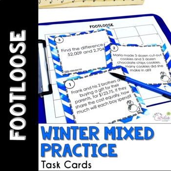Mixed Math Practice Task Cards - Winter Footloose