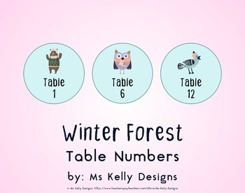 Winter Forest 1-12 Table Numbers