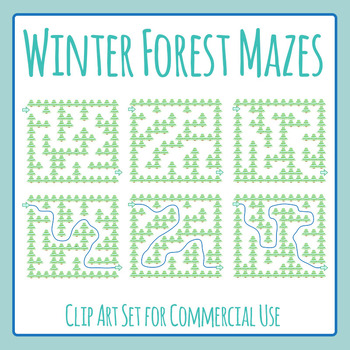 Winter Forest Mazes Commercial Use Clip Art Set