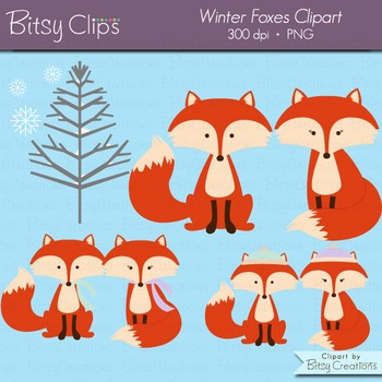 Winter Fox Digital Art Set Clipart Commercial Use Clip Art