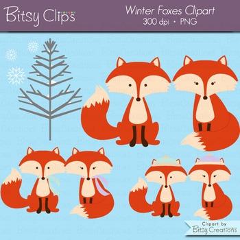Winter Fox Digital Art Set Clipart Commercial Use Clip Art