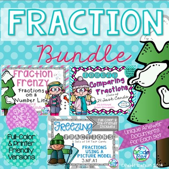 Fraction Task Card Bundle  Color & Ink Friendly