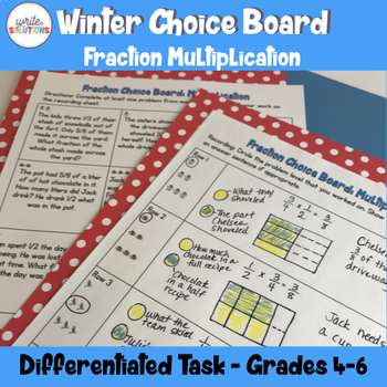 Winter Fraction Activity Multiplication Differentiated not Christmas