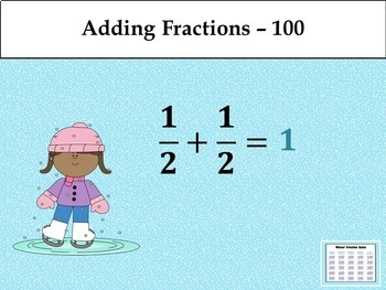 Winter Fraction Game - Similar to Jeopardy