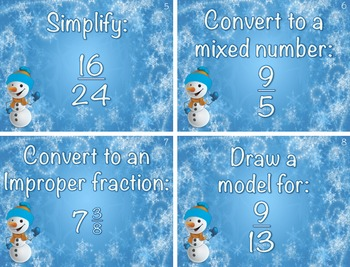 Winter Fraction Scoot! (Task Cards)