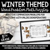 Winter Fraction Word Problem Escape Room and Puzzles
