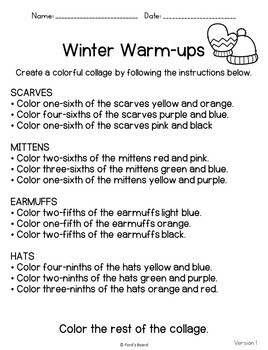 Winter Fractions Color by Number   Winter Fractions Activities