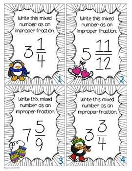 Winter Fractions: Task cards with a touch of winter magic!
