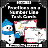 Fractions on a Number Line Task Cards, Snowman Theme, 3rd Grade Math Review