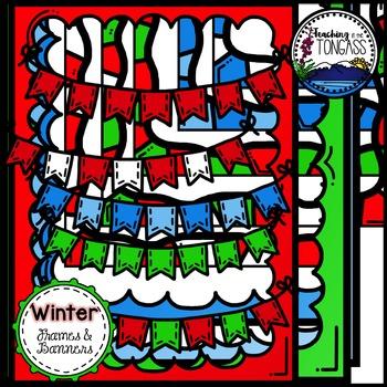 Winter Frames & Banners Clipart Bundle