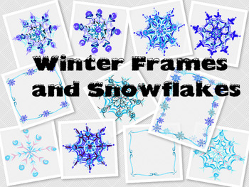 Winter Frames and Snowflakes Clipart