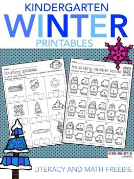 Winter Math & Literacy Worksheets Free
