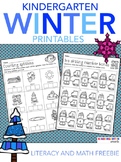 Winter Math & Literacy Worksheets Free