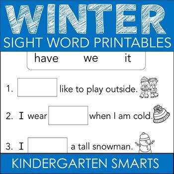 Winter Sight Words Free