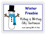 Winter Freebie ~ Rolling & Writing Silly Sentences ~ Cute Literacy Center!